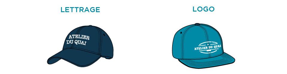 Casquette brodée - Lettrage ou Logo - Atelier du Quai